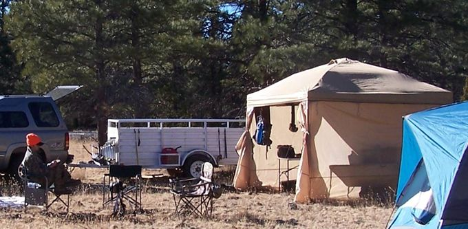 At the center is a white canvas wall tent sometimes referred to as a Montana wall ... & GR:Walmart Outfitter Tent